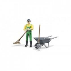 Figurka zemědělec s kolečkem a nářadím 62610 BRUDER
