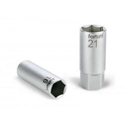 Klíč nástrčný na zapalovací svíčky, 1/2', 21mm, L 65mm, magnet, 61CrV5, FORTUM