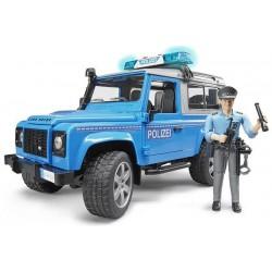 Policejní Land Rover Defender + policista a maják 02597 BRUDER