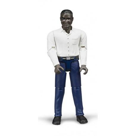 Figurka - Muž (tmavá pleť), tmavé kalhoty a bílá košile 60004 BRUDER