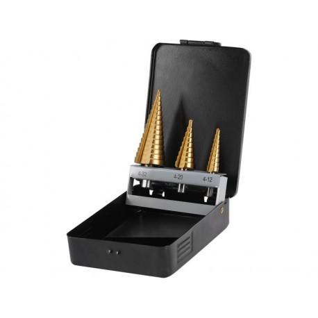 Vrtáky stupňovité, sada 3ks, 4-12/1mm, 4-20/2mm, 4-32/2mm, TiN, EXTOL CRAFT